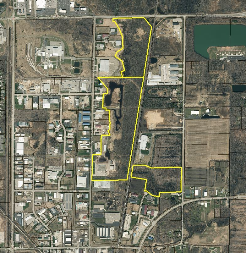 Brookfield Woods and Industrial Woods map